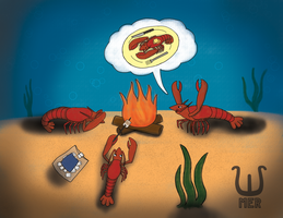 Lobster Campfire Stories - Illustration Friday by towelgirl21