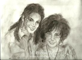 The King of Pop and Liz Taylor by mjdrawings