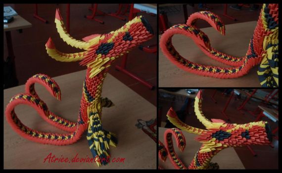 3D origami dragon by Atriee