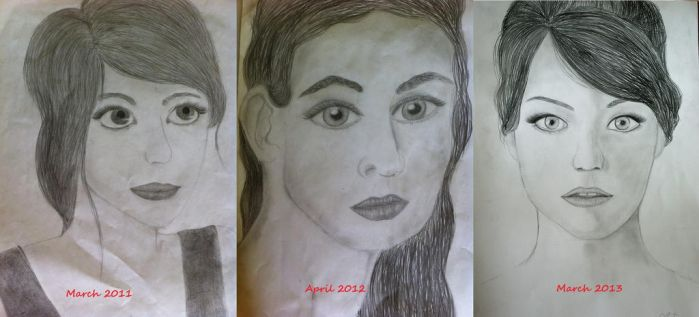 Portaits - 3 years progress by Perfect-as-Cat