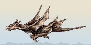 dragon in flight -rough colour by j-m-s