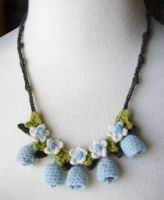 Crochet blue bells necklace by meekssandygirl
