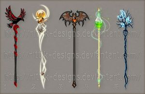 Staff designs 18 (Halloween set) by Rittik-Designs