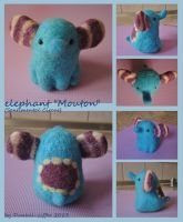 Needle felted Elephant by taiyakitsune