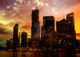 Sunset city wallpaper by Teodora-Chinde