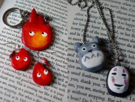Polymer Clay Jewellery - Studio Ghibli by DocileGloom