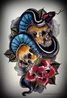 SKULLS and SNAKE tattoo design by oldSkullLovebyMW