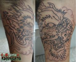 Shen Long Outline by micaeltattoo