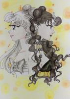 QueenSerenity and Nehellenia - Water colour by KennedyDarc