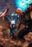Captain America vs Red Skull Colored by MarkMarvida