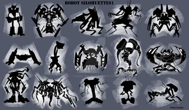 Robot Silohuettes by Sadie-ink
