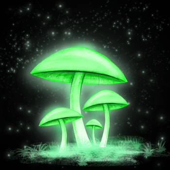 Glowing Mushrooms by StarSparkleChaser