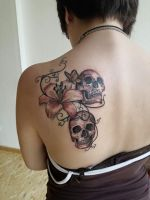 Lily flower with skulls (in progress) by Electronic-Sin