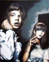 Mick Jagger and Chrissie Shrimpton by cashfromchaos