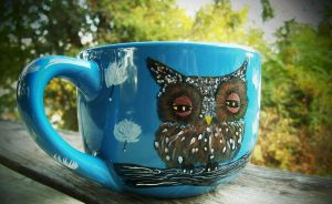 Blue Owl soup/latte mug by InkyDreamz