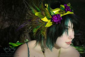 Leather + Feather Headdress by Beadmask