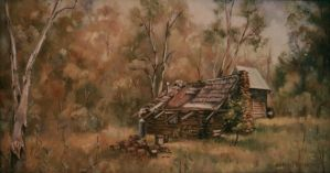 Bush Hut, High Country - Australia . OIL PAINTING by AstridBruning