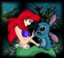 Ariel and Stitch by andy-pants
