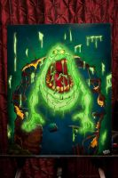Slimer airbrush painting by BioToxxx