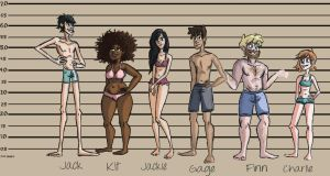 Character Line-Up (Underwear Edition) by LittleSpaceStars