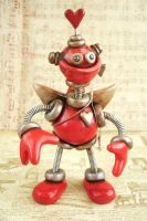 Cupid Robot Rustic Red Ruprecht by HerArtSheLoves