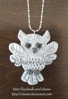 Polymer Clay: Owl Pendant by iChame