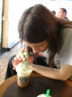observing the frappucino by spookiedoofus