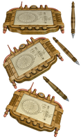 Steampunk Tablet & Pen PNG Stock by Jumpfer-Stock