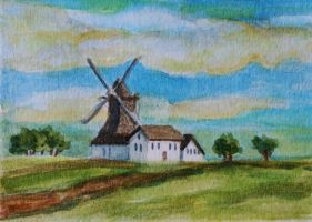 ATC Windmill Landscape by waughtercolors