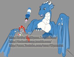 [sketch] Wynne and Torenth - Inked and color flat by Wynnefox