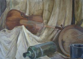 still life with the violin by MonikaSikora