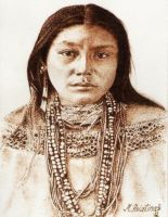 Hattie-Tom-Chiricahua-Apache-1899. Pyrography by tikvaart