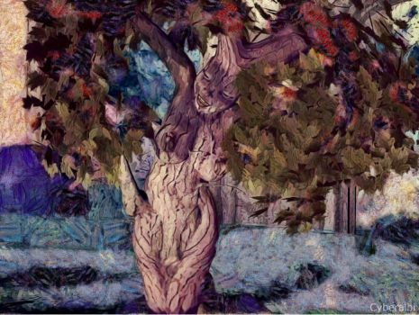 Nude girl to tree transformation sequence 4 by Cyberalbi