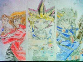 Jaden Yuki, Yugi Mutou and Yusei Fudo by nath2897