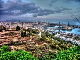 Barcelona sky line taken from Montjuic by Petrol-Head-Images