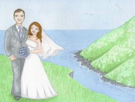 Clifftop wedding invitation by pollywriggle