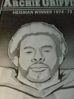 Etched Glass Art Window Close Up of Archie Griffin by ImaginedGlass