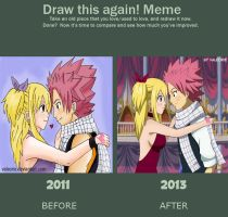 Natsu and Lucy: Meme draw this again by Valeorie