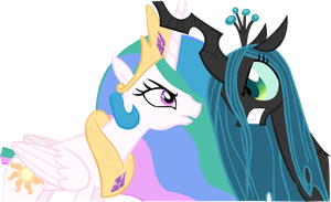 Celestia and Queen Chrysalis Horn to Horn by PressToShoot