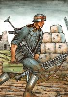 WWII German Machine Gunner by Frohickey