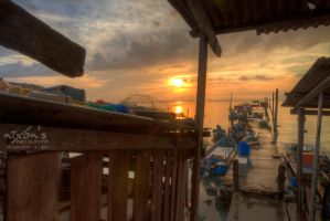 Sunrise of Dove Jetty, Penang - The rain 3 by fighteden