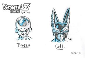 DBZ Cell and Frieza Sketch by E2A4