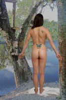 Nude Brunette On Riverbank by csp-media