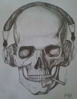 Skull with headphones by GustavoHRG