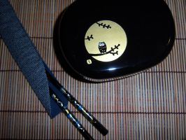 Black and Gold Owl Bento and Chopsticks by Scarletts-Fever