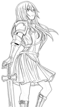Erza Scarlet - Line Art Requested ! by Altair-Ezio