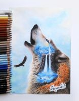 Lonely wolf drawing by Bajan-Art