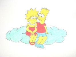 Sad Lisa and cheering up Bart by Shagggy1987