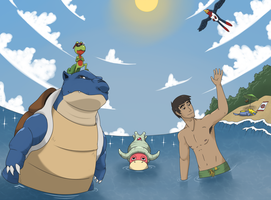 Pokemon at the Beach by Nickarooski