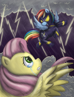 Shadowdash and Fluttershy by ScarabDynasty1